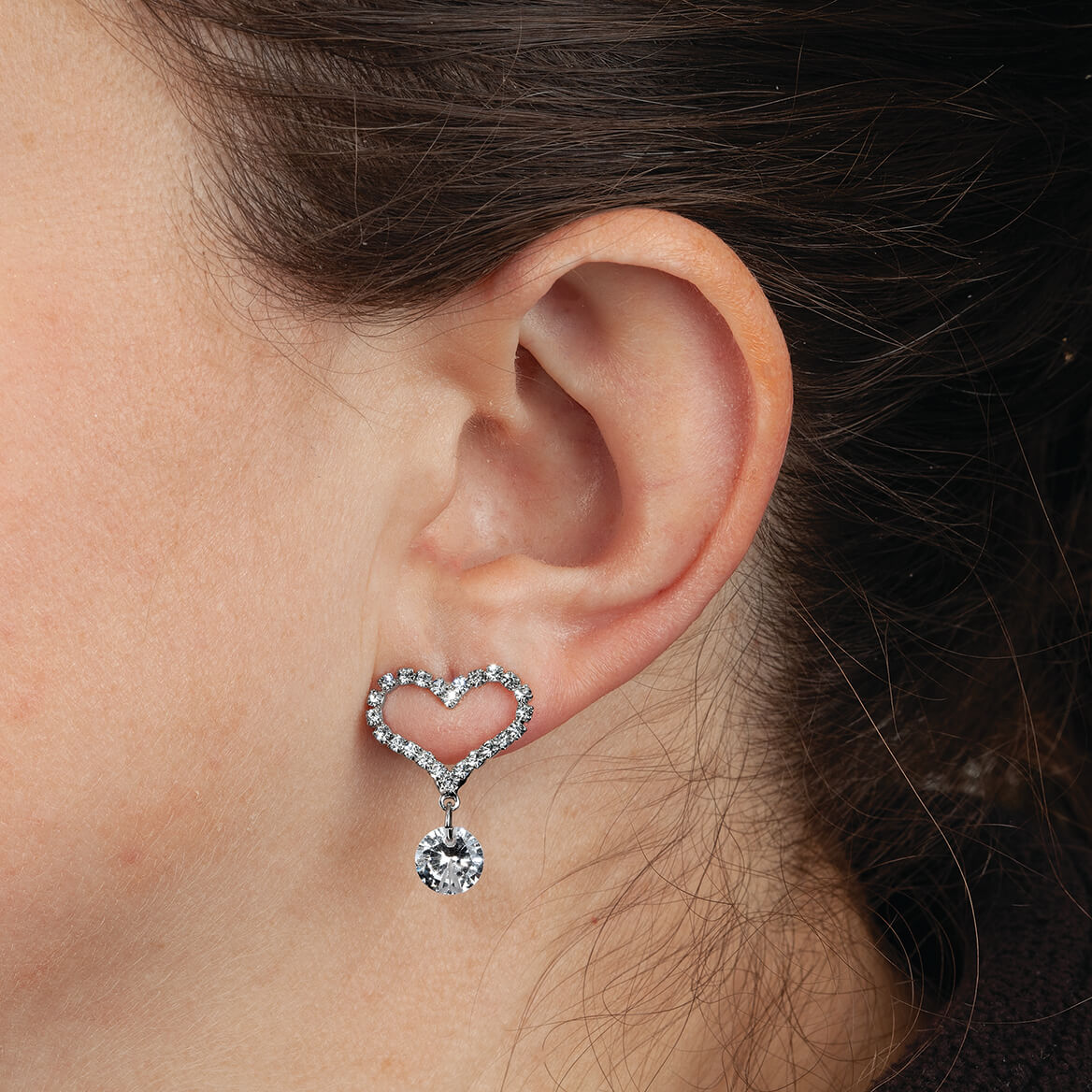 Heart Shaped CZ Earrings with Crystal Dangle-370356