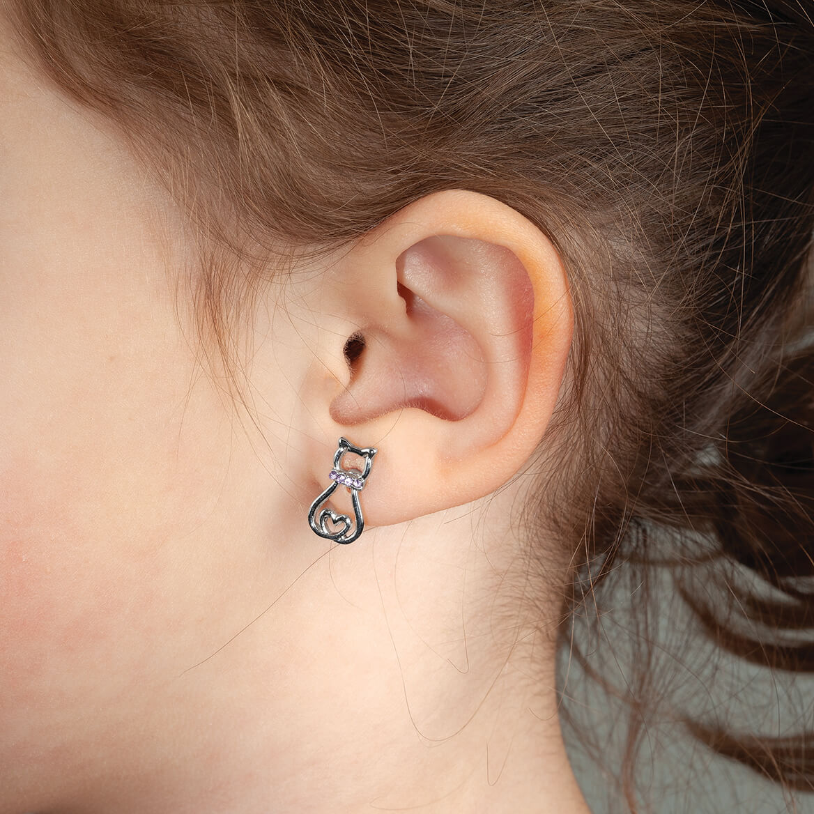 Crystal Collared Cat Earrings-370360