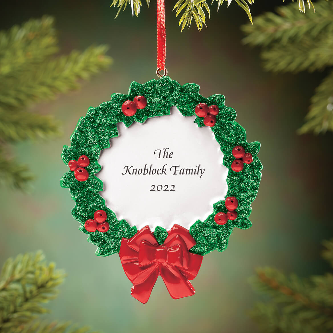Personalized Christmas Wreath Ornament-370434
