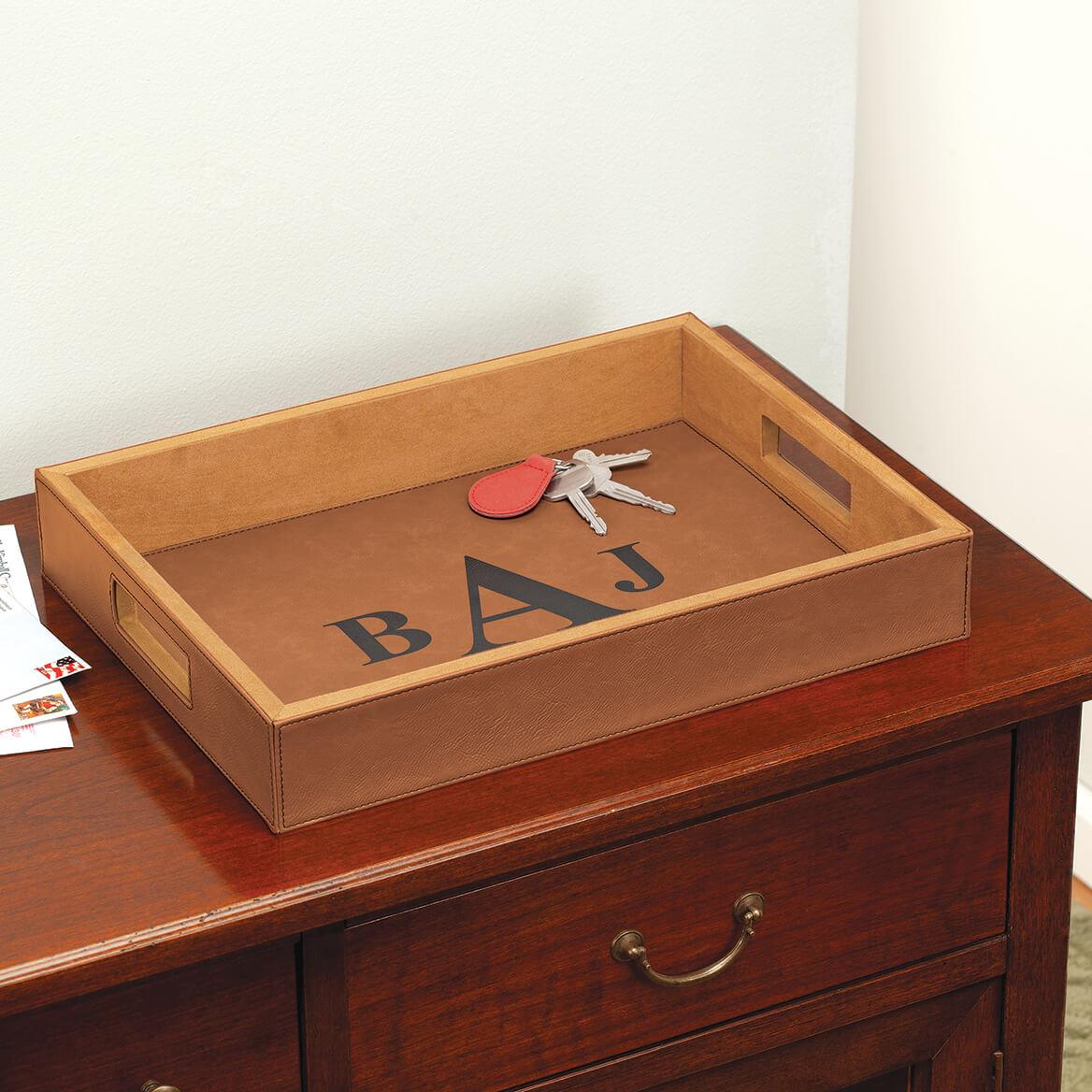 Personalized Leatherette Caramel Tray-370507
