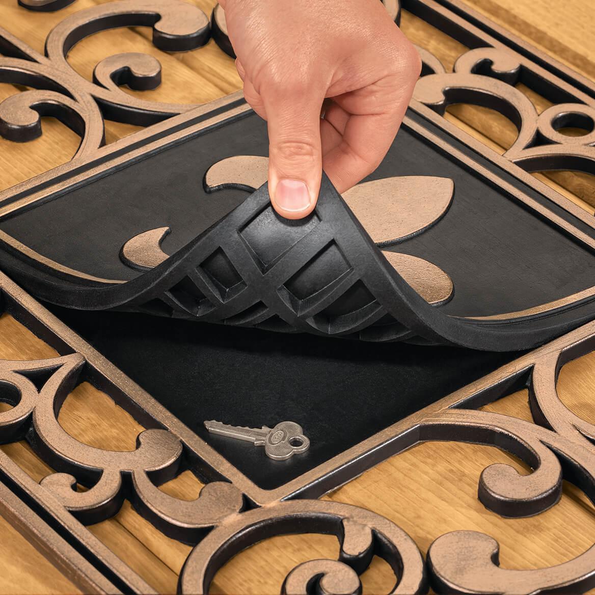 Hide A Key Doormat with Fleur-de-lis Insert-370531