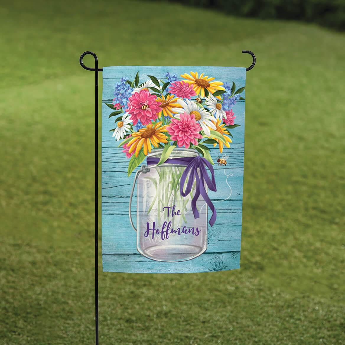 Personalized Mason Jar Floral Garden Flag-370558