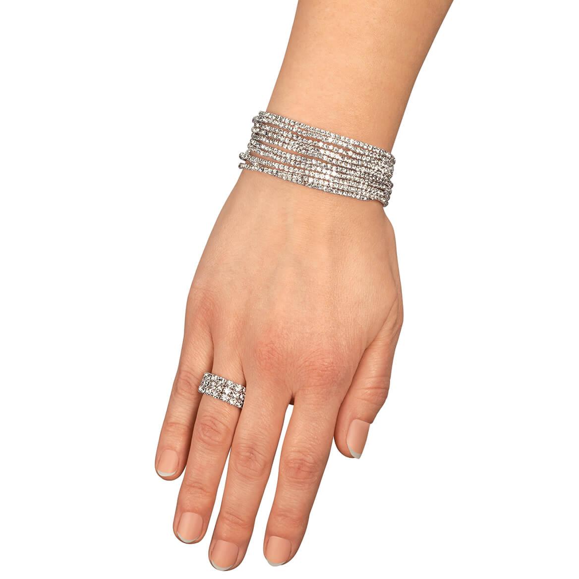 Set of 10 Crystal Bracelets and Stretch Ring-370586