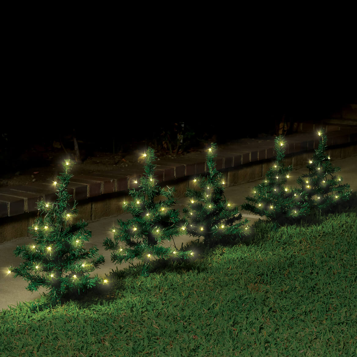 Solar Lighted Tree Stakes, Set of 5-370816