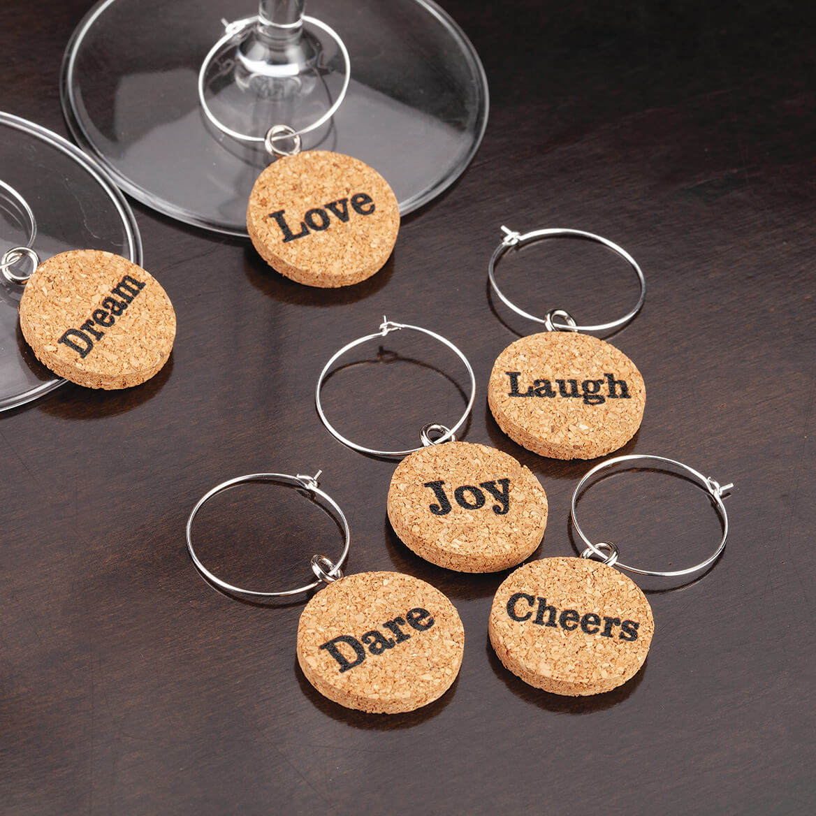 Inspirational Cork Wine Charms Set of 6-370884