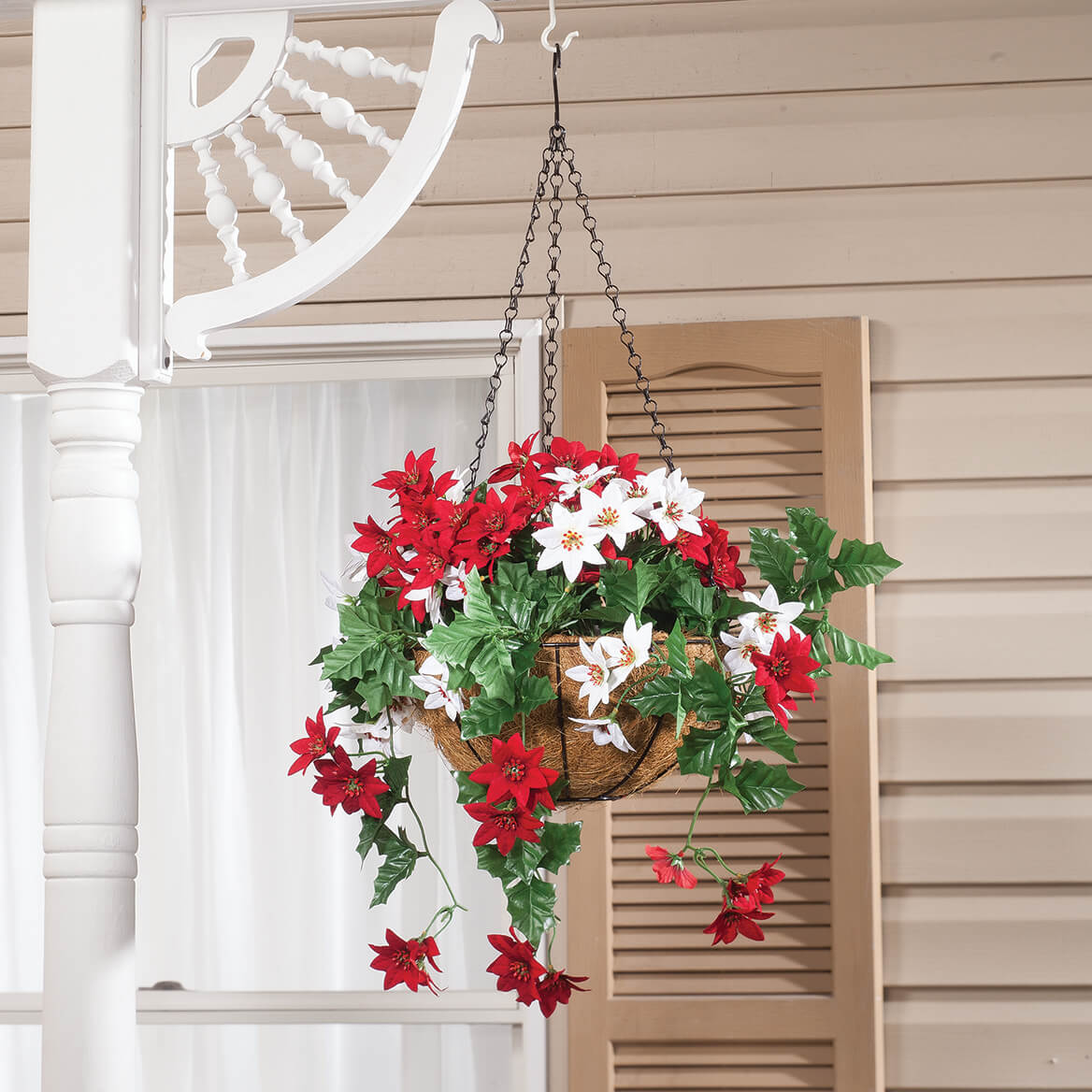Fully Assembled Mini Poinsettia Hanging Baskets, Set of 2-371409