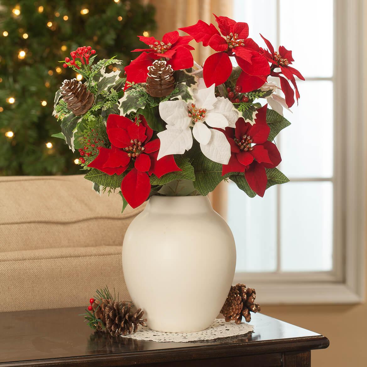 "21"" Poinsettia & Pinecone Bush by OakRidge™, Set of 2-371410"
