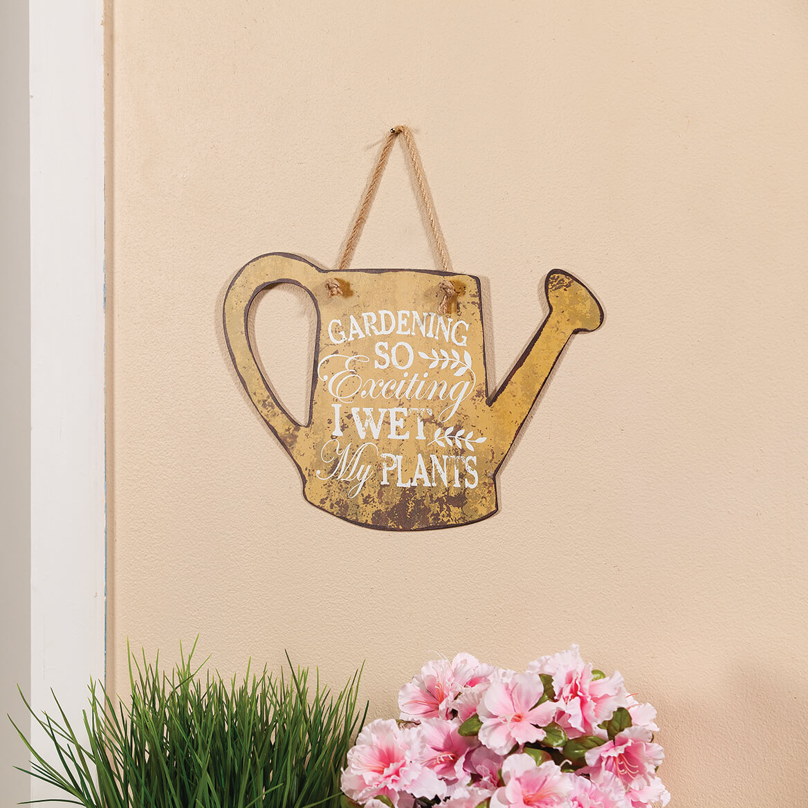 """Metal """"I Wet My Plants"""" Watering Can by Fox River™ Creations-371435"""