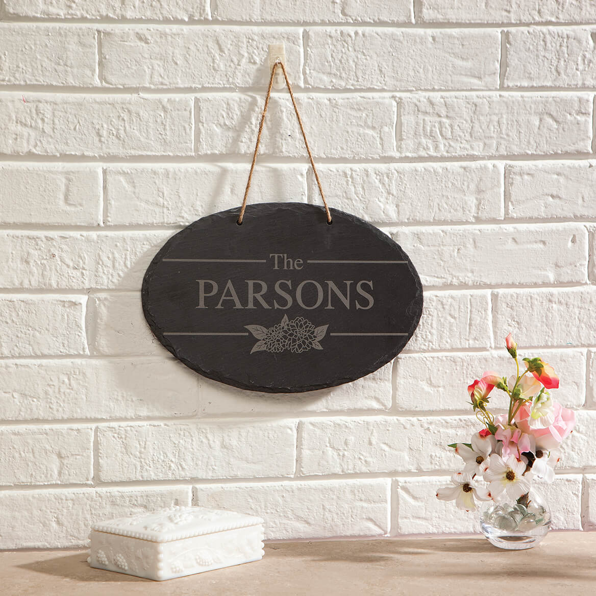 Personalized Floral Slate Plaque-371487