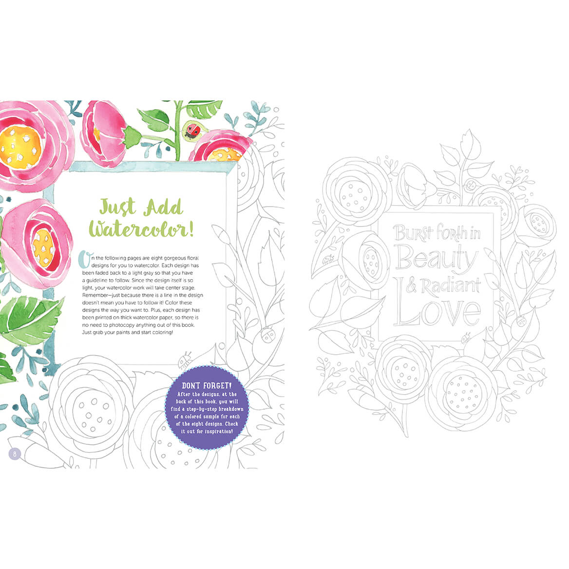 Just Add Watercolor Flowers Book-371530