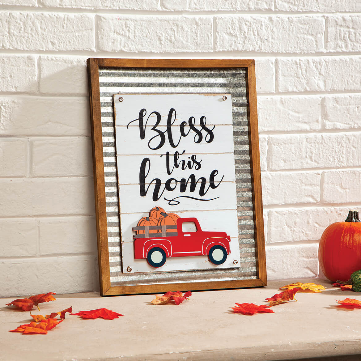 """""""Bless this Home"""" Holiday Sign with Interchangeable Trucks-371535"""