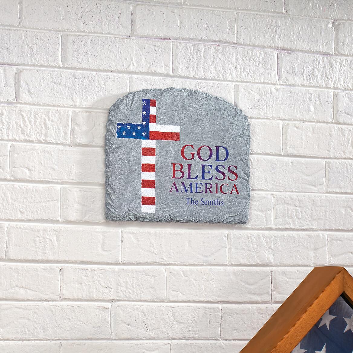 Personalized Patriotic Cross Garden Stone-371660