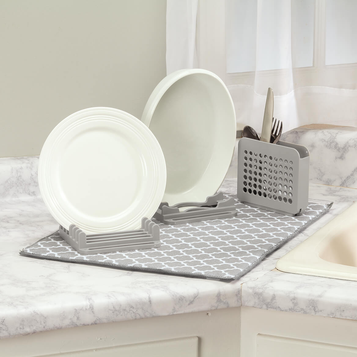 Dish Drying Mat with 3-Section Rack-371755