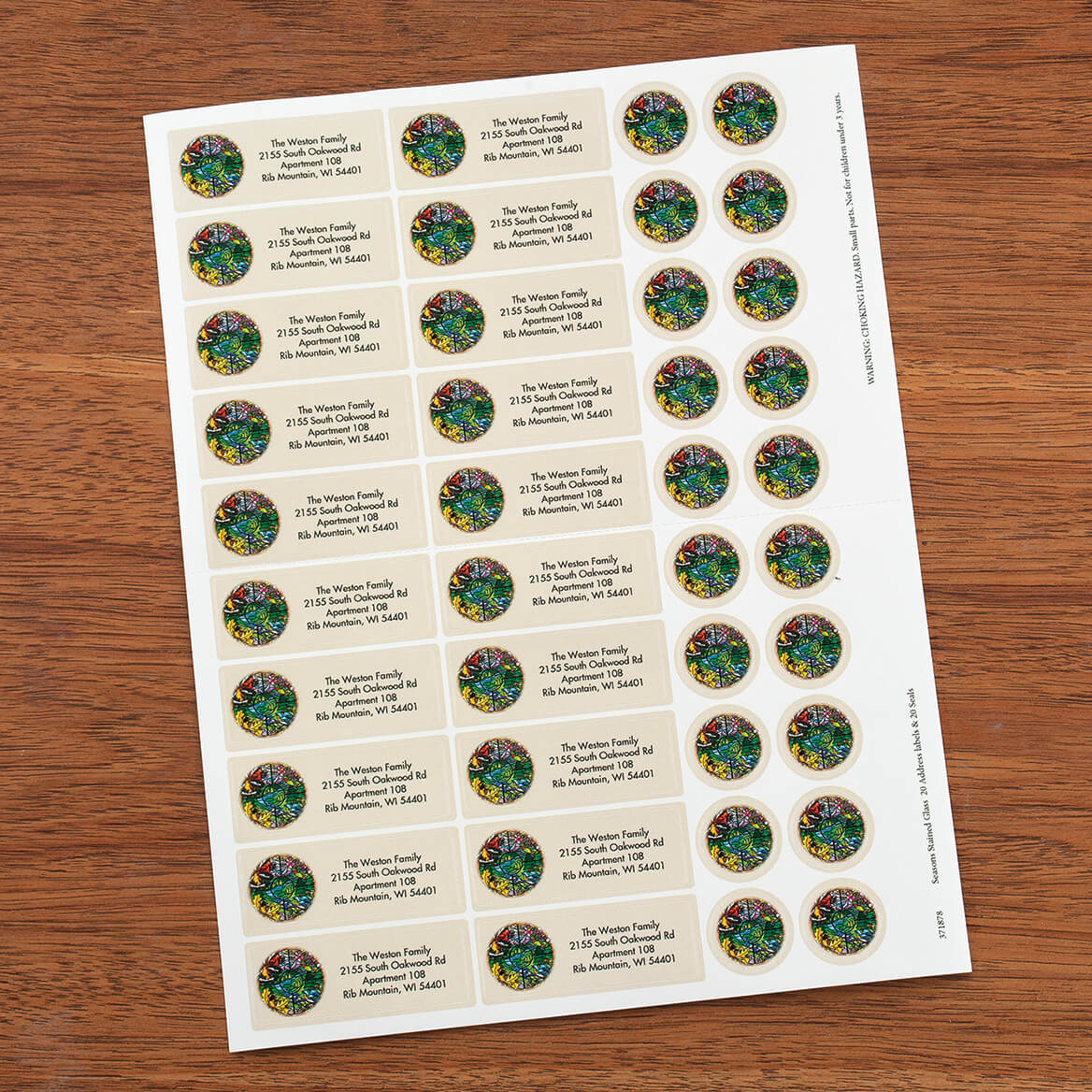Seasons Stained Glass Address Labels and Seals-371878