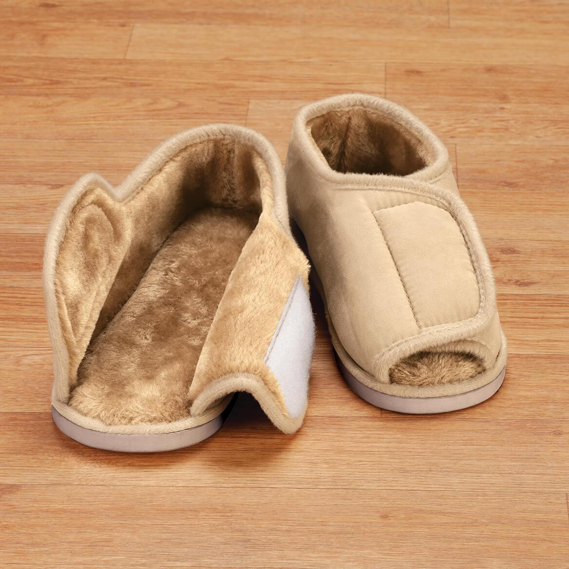Silver Steps™ Adjustable Open Toe Faux Fur Slippers-372003