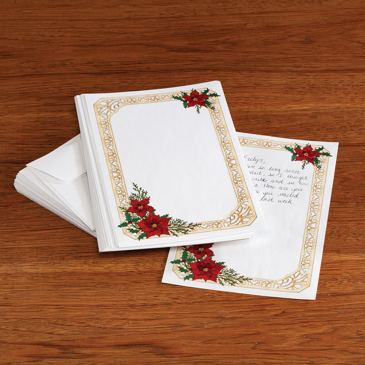 Poinsettia Collage Stationery Set-372028