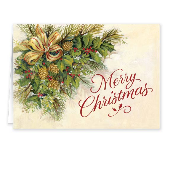 Christmas Greenery Secular Christmas Card Set of 20 - View 2
