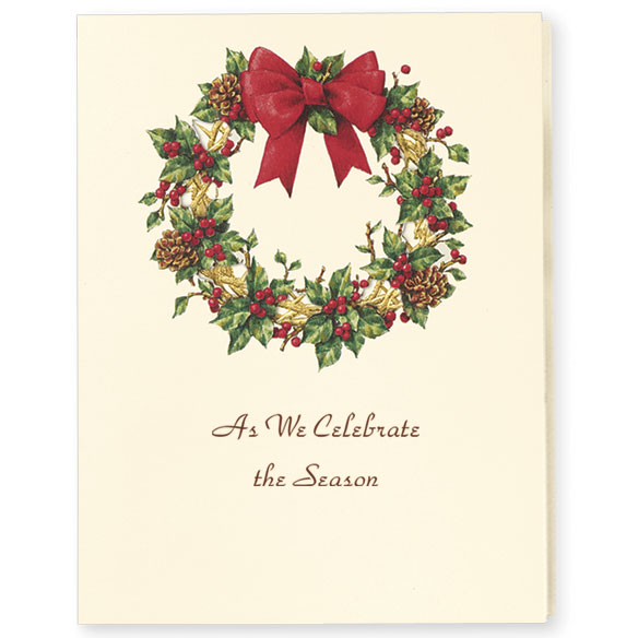 Wreath Of Gold Christmas Card Set/20 - View 2