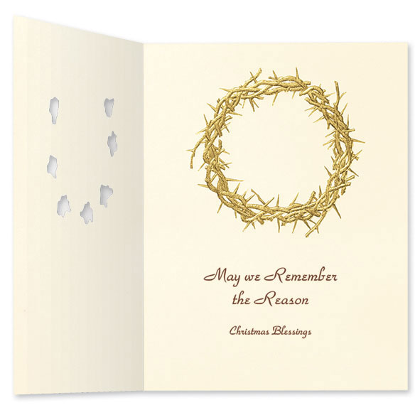 Wreath Of Gold Christmas Card Set/20 - View 3