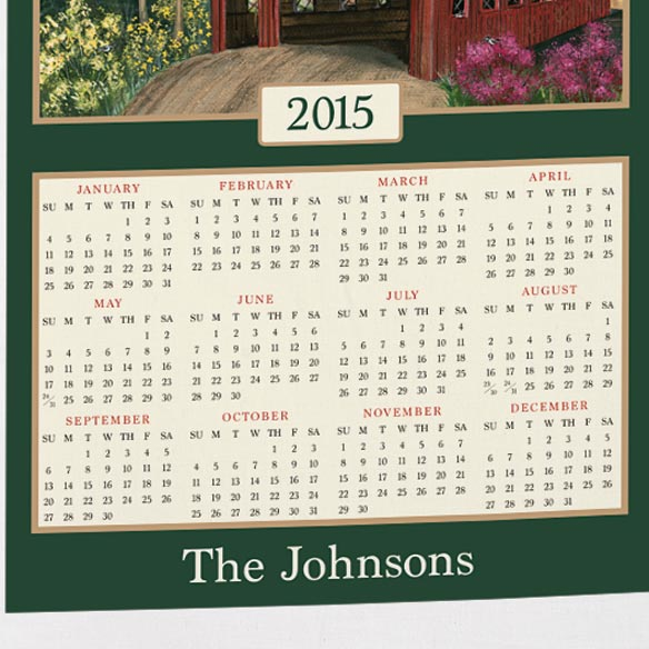 Personalized Covered Bridge Calendar Towel - View 3