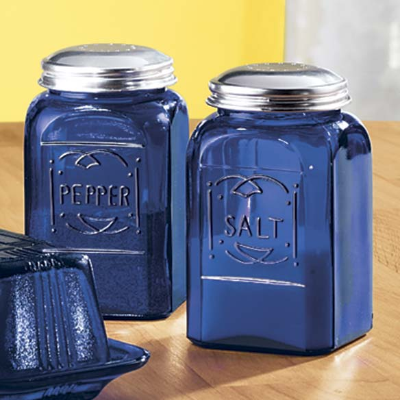 Cobalt Blue Depression Style Glass Salt & Pepper Shakers - View 3