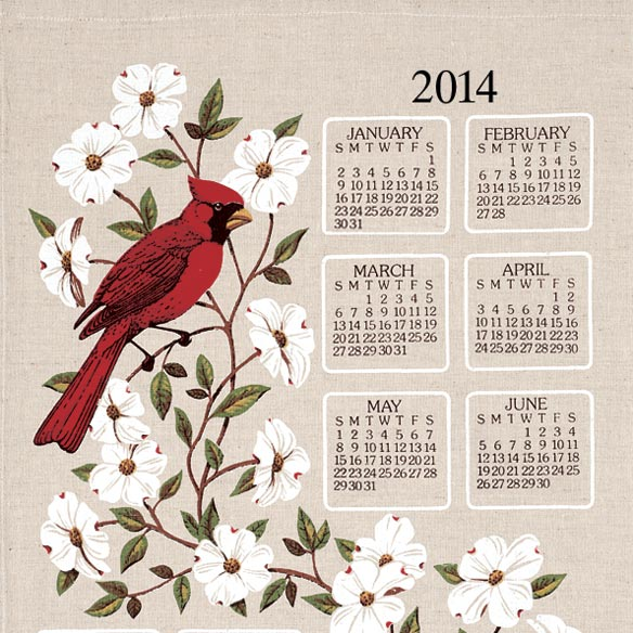 Dogwood & Cardinal 2014 Calendar Towel - View 2