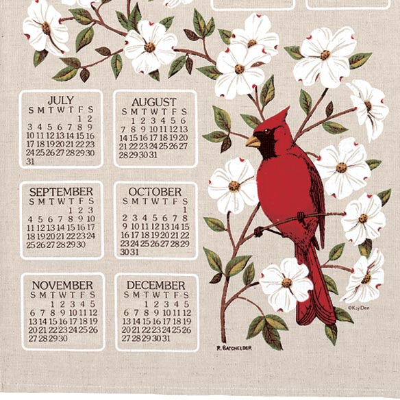 Dogwood & Cardinal 2014 Calendar Towel - View 3