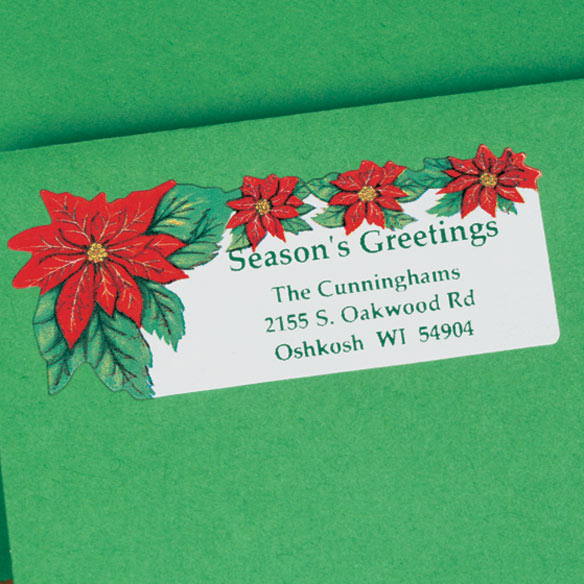 Poinsettia Return Address Labels - Set of 250 - View 2