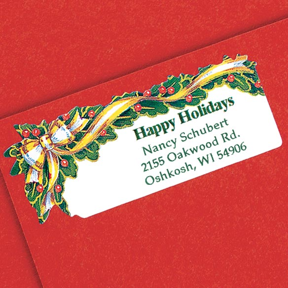 Holly And Ribbon Return Address Labels - Set Of 250 - View 2