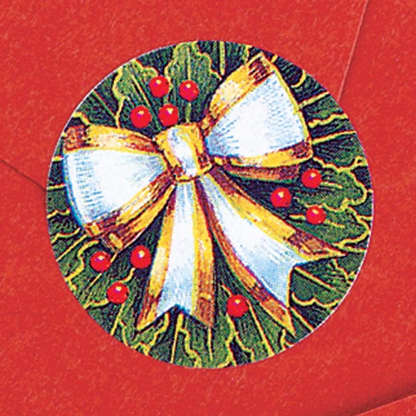 Holly And Ribbon Envelope Seals - Set of 250 - View 2