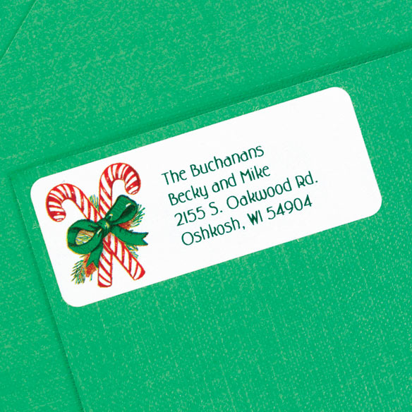 Candy Cane Return Address Labels - Set of 250 - View 2