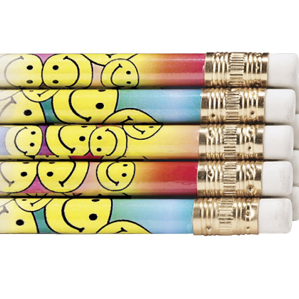 Personalized Smiley Face Pencils - View 3