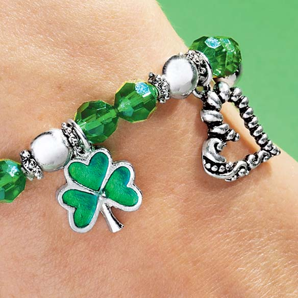 Shamrock 4 Leaf Clover Stretch Bracelet - View 2