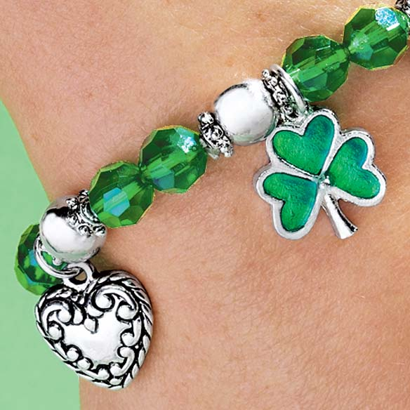 Shamrock 4 Leaf Clover Stretch Bracelet - View 3