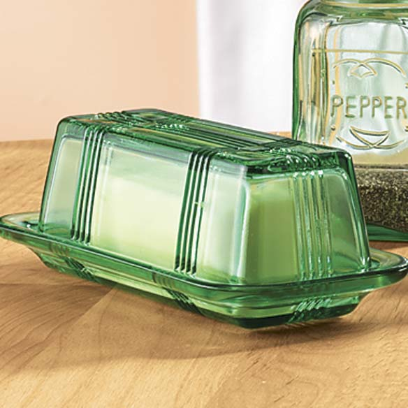 Green Depression Style Glass Butter Dish - View 2