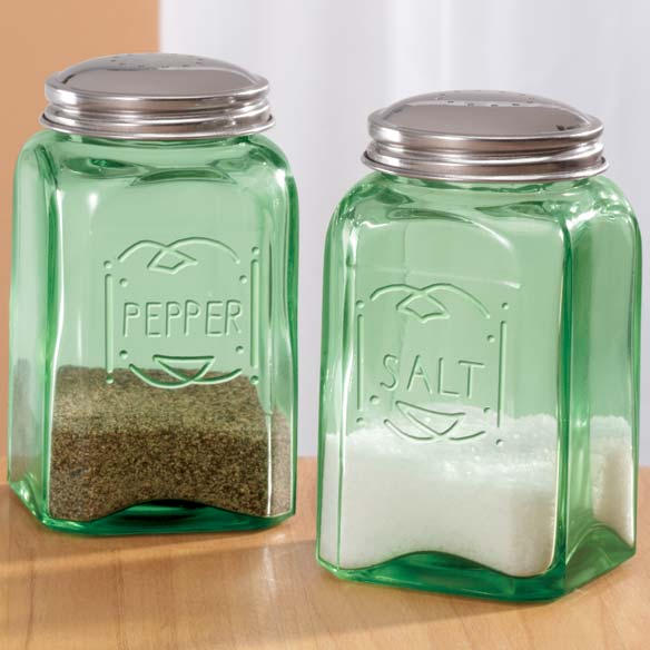 Green Depression Style Glass Salt & Pepper Shakers - View 2