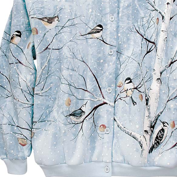 Winter Birds In Birch Cardigan - View 3