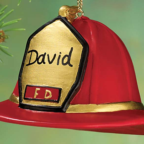 Personalized Firemans Hat Ornament