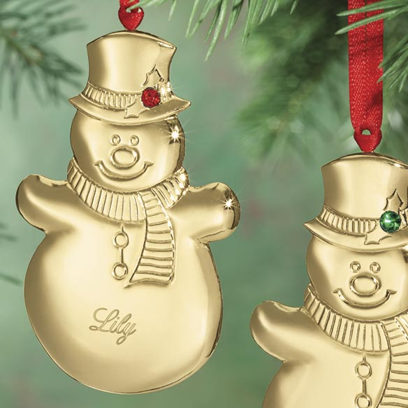 Personalized Snowman Birthstone Ornament - View 2