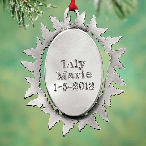 Personalized Baby's First Christmas Pewter Ornament - View 3