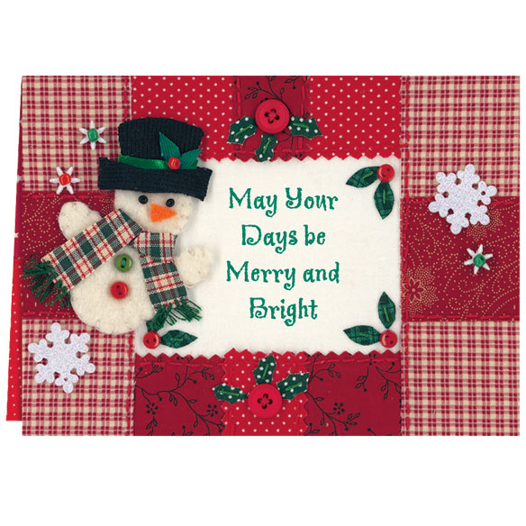 Calico Snowman Christmas Card Set of 20 - View 2