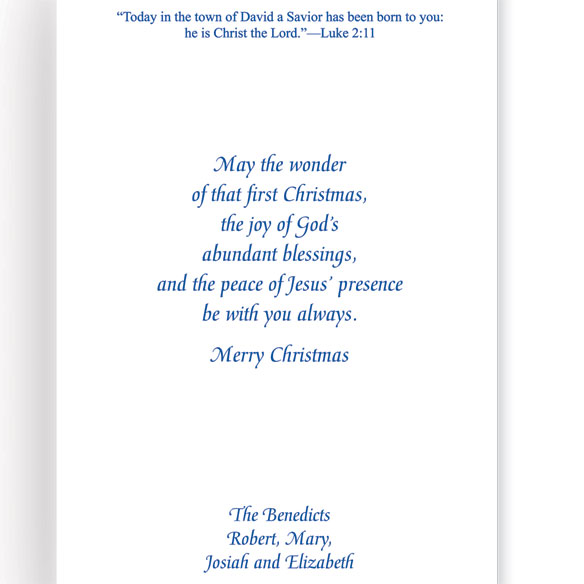 Holy Family Personalized Embossed Christmas Cards - Set Of 20 - View 3
