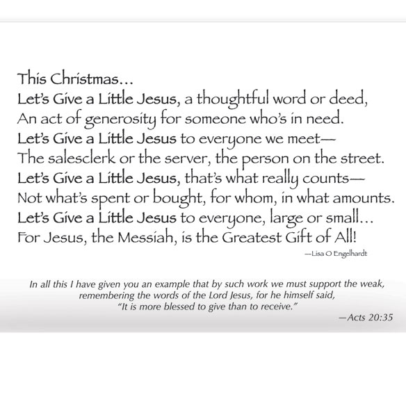Give a Little Jesus Religious Christmas Card Set of 20 - View 3