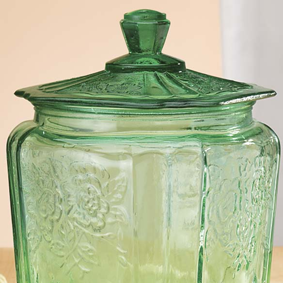 Green Depression Style Glass Biscuit Jar - View 2
