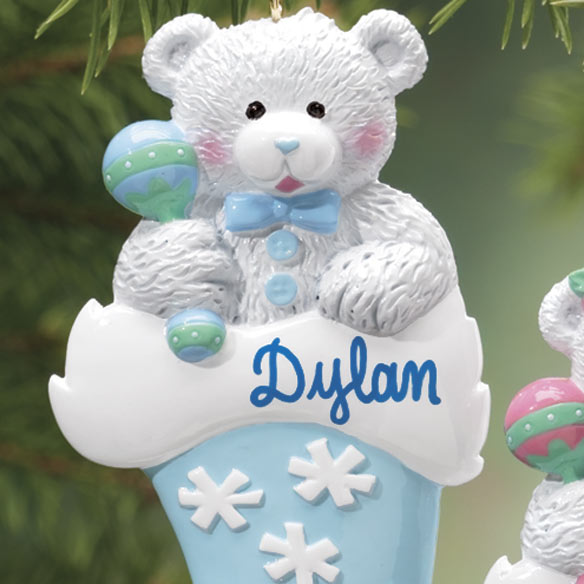 Personalized Bear In Santa Hat Ornament - View 2