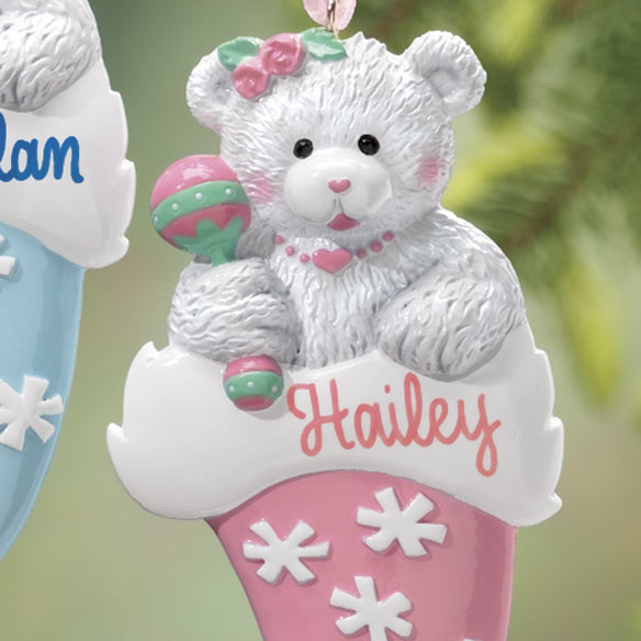 Personalized Bear In Santa Hat Ornament - View 3