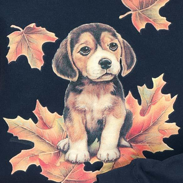 Puppy In Leaves Sweatshirt - View 2