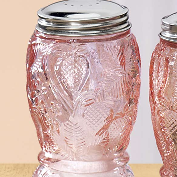 Pink Depression Style Glass Salt and Pepper Shakers - View 2