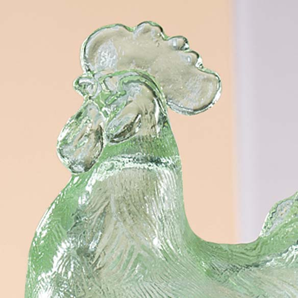 Green Depression Style Glass Rooster Candy Jar - View 2