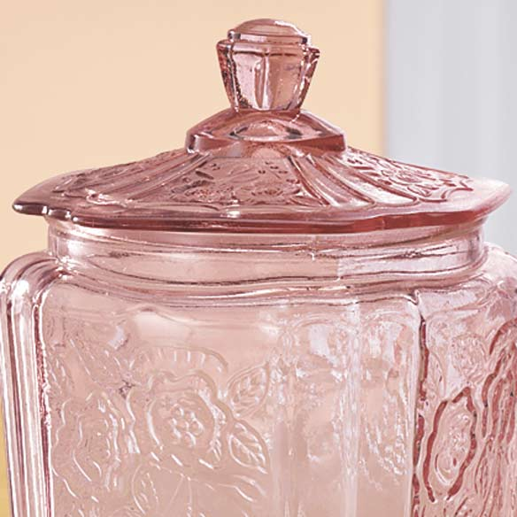 Pink Glass Biscuit Jar - View 2